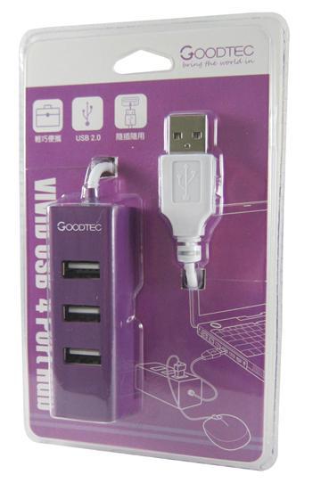 酷格 Vivid USB 4Port集線器-紫色(GH-234PU-TK)