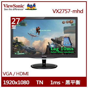 ViewSonic 27型電玩顯示器(VX2757-mhd)