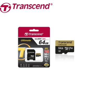 【U3】創見 Micro SD 64G記憶卡-附轉卡(TS64GUSDU3)