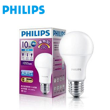 飛利浦全電壓 LED燈泡廣角10W白光(929001199145)
