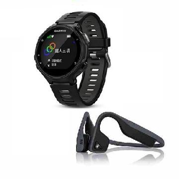 「運動音樂組」Garmin Forerunner735XT心率GPS運動錶-黑  + AFTERSHOKZ 骨傳導運動藍牙耳麥-灰黑(Forerunner735XT-黑)