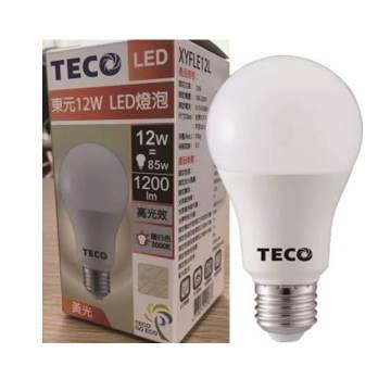 東元12W LED燈泡(黃光)全電壓(XYFLE12L)