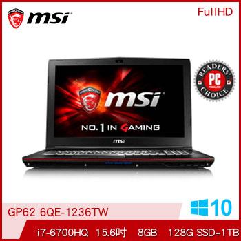 【混碟款】MSI GP62 Ci7 GTX950M電競獨顯筆電(GP62 6QE-1236TW)