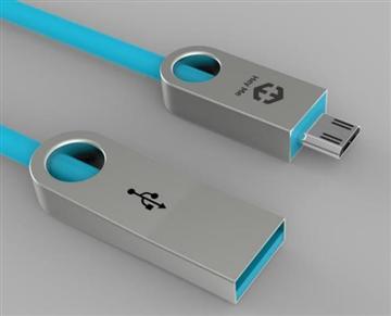 黑米 鋅合金Android傳輸充電線1M-藍(HU2SFTM1MT)