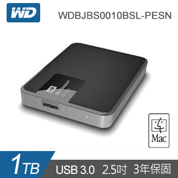 【1TB】WD 2.5吋 行動硬碟My Passport for Mac(WDBJBS0010BSL-PESN)