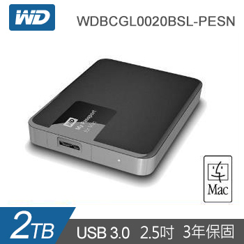 【2TB】D 2.5吋 行動硬碟My Passport for Mac(WDBCGL0020BSL-PESN)