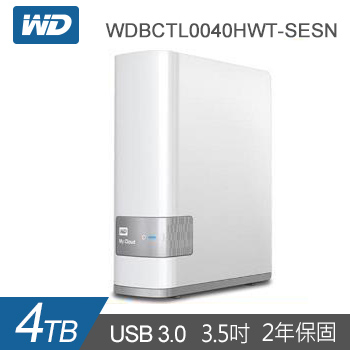 【4TB】WD 3.5吋 雲端儲存系統(My Cloud)(WDBCTL0040HWT-SESN)
