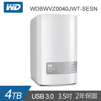 【4TB (2TBx2)】WD 雲端儲存 MyCloud Mirror Gen2(WDBWVZ0040JWT-SESN)