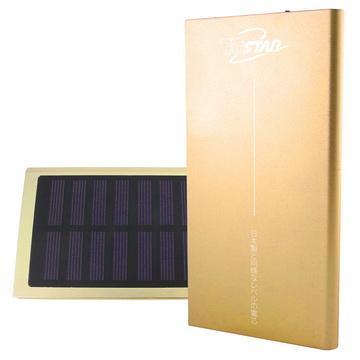 【7500mAh】TC STAR太陽能鋰聚合物行動電源-金色