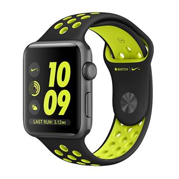 【42mm】Apple Watch Nike/太空灰鋁金屬/黑配螢光黃Nike MP0A2TA/A