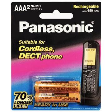 Panasonic無線電話專用4號鎳氫充電電池2入(BK-4LDAW2BTW)