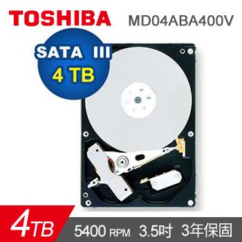 TOSHIBA 3.5吋 4TB SATAIII 監控用 硬碟機(MD04ABA400V)