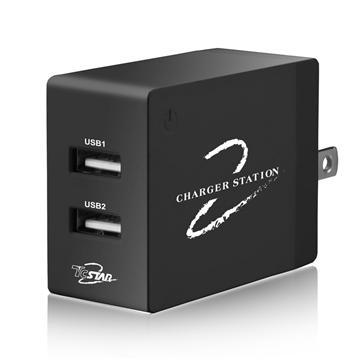 T.C.STAR 雙孔4.8A折疊USB旅充-黑(TCP2000BK)