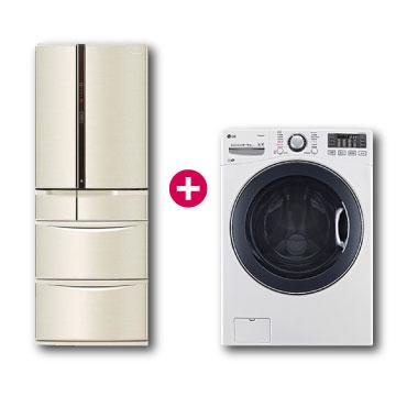 Panasonic 501公升旗艦ECONAVI六門變頻冰箱+LG 16公斤蒸氣洗脫烘滾筒洗衣機