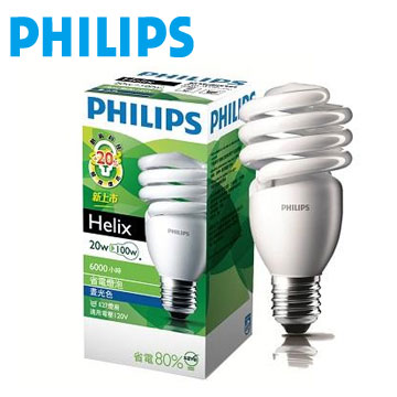 飛利浦 HELIX T2 20W省電燈泡-白光(929689779803)