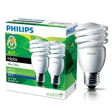 飛利浦 HELIX T2 20W省電燈泡-白光(2入)(929689779804)