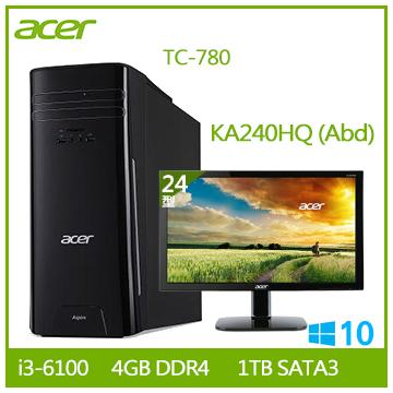 【同捆組】Acer TC-780 Ci3-6100 桌上型電腦+【24型】ACER KA240HQ LED液晶LCD(TC-780 i3-6100)