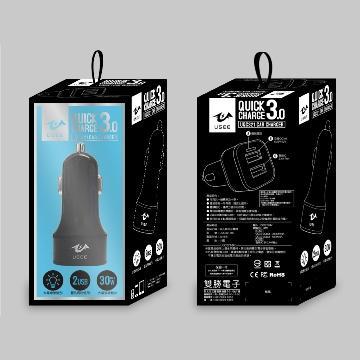 【QC 3.0】USEE UQC321 两孔车用充电器 - 黑色(UQC321-BK)