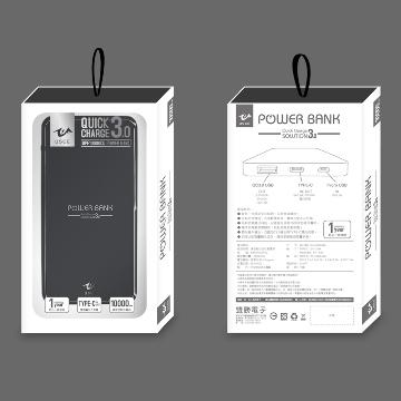 【10000mAh / QC 3.0】USEE铝合金行动电源-黑色(UPE10000CQ-BK)