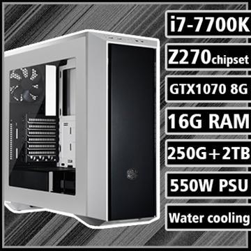 [戰神無雙] - 七代K版Ci7水冷Z270平台GTX1070獨顯組裝電腦(雙碟版)