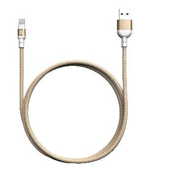 亚果元素 ADAM MFi认证8pin编织充电线1.2m - 金色(PeAk2 120B 金)