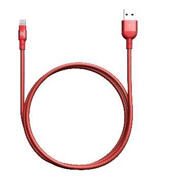 亚果元素 ADAM MFi认证8pin编织充电线1.2m - 红色(PeAk2 120B 红)