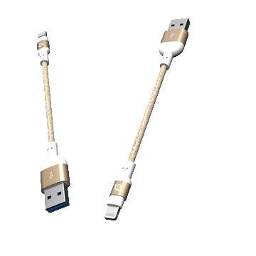 亚果元素 ADAM MFi认证8pin编织充电线20cm - 金色(PeAk2 20B 金)