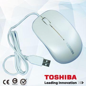TOSHIBA 有線光學滑鼠-白