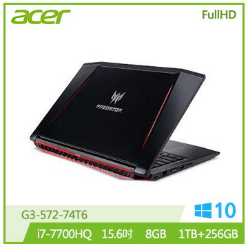 【福利品】ACER PREDATOR 15.6吋电竞笔电(i7-7700HQ/GTX 1060/8G)(G3-572-74T6)