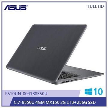 ASUS S510UN-金属灰 15.6吋FHD笔电(i7-8550U/MX 150/4G/SSD)(S510UN-0041B8550U)
