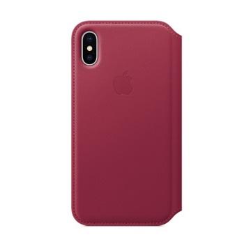 iPhone X Folio 皮革保护壳-莓果色(MQRX2FE/A)