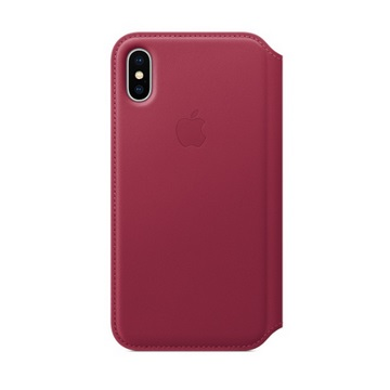 iPhone X Folio 皮革保護殼-莓果色