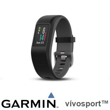 【大】Garmin Vivosport GPS智慧心率手環 - 躍動黑