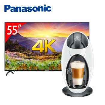 Panasonic 55型 4K智慧聯網顯示器+雀巢膠囊咖啡機-Jovia