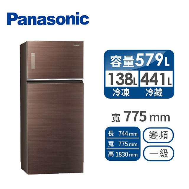 Panasonic 579公升玻璃雙門變頻冰箱(NR-B589TG-T(翡翠棕))