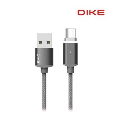 DIKE 磁吸Type-C接頭充電線1M-太空灰