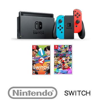 【公司貨】 任天堂 Nintendo Switch主機電光藍/紅 + 保護週邊3合1 + 瑪利歐賽車8 豪華版 Mario Kart 8 Deluxe+ 1-2-Switch