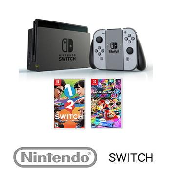 【公司貨】 任天堂 Nintendo Switch主機灰色 + 保護週邊3合1 + 瑪利歐賽車8 豪華版 Mario Kart 8 Deluxe  + 1-2-Switch