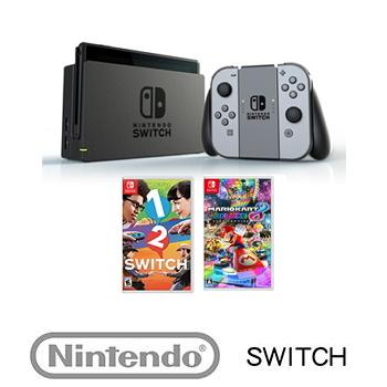 【公司貨】 任天堂 Nintendo Switch主機灰色 + 瑪利歐賽車8 豪華版 Mario Kart 8 Deluxes + 1-2-Switch