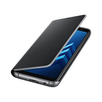 SAMSUNG A8+ 原廠霓虹翻頁皮套-黑