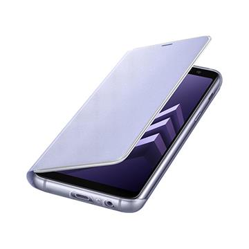 SAMSUNG A8+ 原廠霓虹翻頁皮套-紫灰