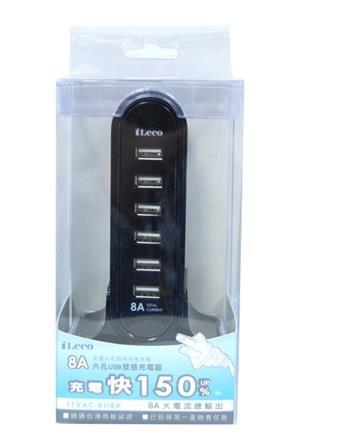 iLeeo ITVAC-6U8A 8A支援六孔USB电源供应器 - 黑(ITVAC-6U8A-BK)