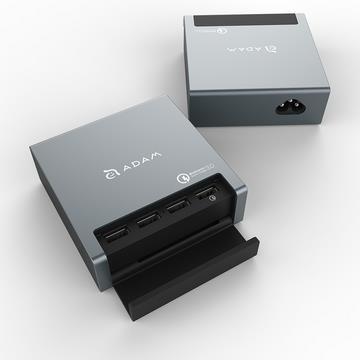 【QC 3.0】ADAM OMNIA PA401 1对4充电器 - 灰色(PA401 灰)