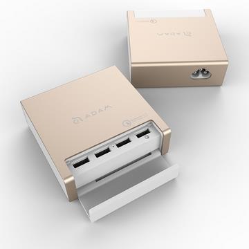 【QC 3.0】ADAM OMNIA PA401 1对4充电器 - 金色(PA401 金)