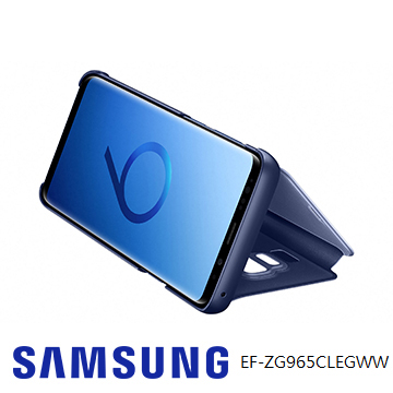 SAMSUNG Galaxy S9+ 全透視感應皮套(立架) - 藍色