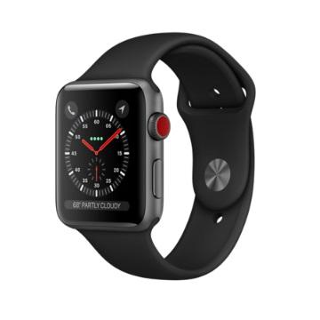 【LTE版 42mm】Apple Watch S3/太空灰鋁/黑運動錶帶