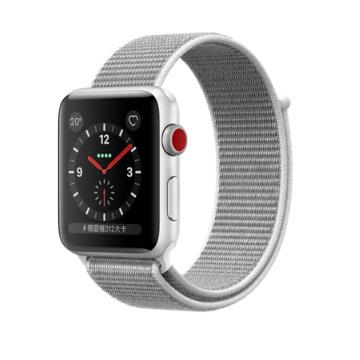 【LTE版 42mm】Apple Watch S3/銀鋁/貝殼白運動錶環