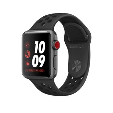 【LTE版 38mm】Apple Watch S3 Nike+/太空灰鋁/黑底黑洞錶帶(MQM82TA/A)