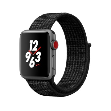 【LTE版 38mm】Apple Watch S3 Nike+/太空灰鋁/黑底白線錶環