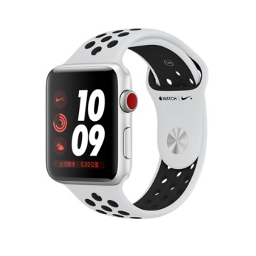 【LTE版 42mm】Apple Watch S3 Nike+/銀鋁/白底黑洞錶帶